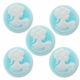 Cameo, Sarah, White on Blue, 20mm Round Synthetic Cabochon (5PK)