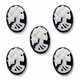 Cameo, Skeleton Lady Lilith, White on Black, 18x13mm Oval Cabochon (5PK)