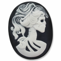 Cameo, Skeleton Lady Lilith, White on Black, 40x30mm Oval Cabochon (5PK)