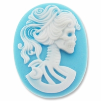 Cameo, Skeleton Lady Lilith, White on Blue, 40x30mm Oval Cabochon (5PK)