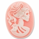 Cameo, Skeleton Lady Lilith, White on Light Coral,  40x30mm Oval Cabochon (5PK)