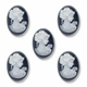 Cameo, Sophia, White on Black, 18x13mm Oval Synthetic Cabochon (5PK)