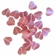 Frosted Puff Heart Pink 6mm Cats Eye Glass Strand