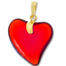 Siam Gold Pendent Heart 24mm (1PC)