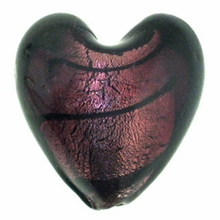 Silver Foil Glass Amethyst Heart Beads 20x20mm (1PC)
