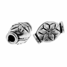 Oval Flower 6x9mm Bali Sterling Silver Bead (1PC)