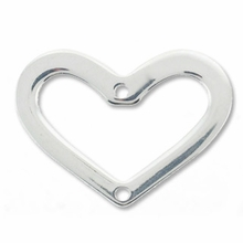 Sterling Silver 20mm x 15mm 2 Hole Heart Link (1PC)