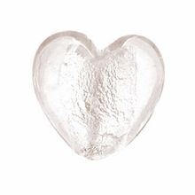Silver Foil Glass Crystal Small Heart Beads 15x15mm (5PK)