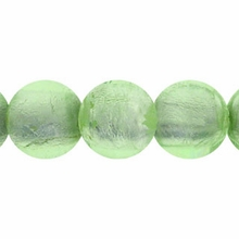 Silver Foil Glass Lt. Green Round Beads 10mm (10PK)