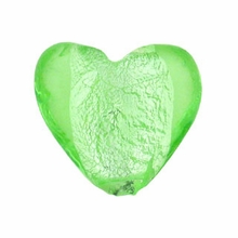 Silver Foil Glass Lt. Green Small Heart Beads 15x15mm (5PK)