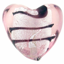 Silver Foil Glass Lt. Rose Heart Beads 20x20mm (1PC)