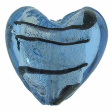 Silver Foil Glass Lt. Sapphire Heart Beads 20x20mm (1PC)
