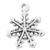 Antiqued Silver 20mm Snowflake Charm (10PK)