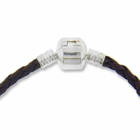 7.5 Inch Brown Braided Leather European Bracelet with Silver Plated Snap Clasp (1PC)