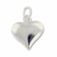 Silver Plated 12mm Puffed Heart Charm (5PK)