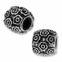 MIOVI™ Silver Plated 10mm Many Flowers Drum Bead (1PC)