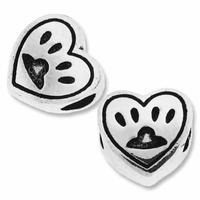 MIOVI™ Silver Plated 11mm Heart with Paw Print Bead (1PC)