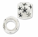 MIOVI� Silver Plated Large Hole 9x8mm Drum Star Bead (1PC)