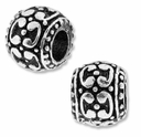 MIOVI� Silver Plated Large Hole 10mm Fancy Drum Bead (1PC)