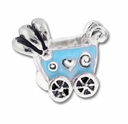 MIOVI� Silver Plated Blue Enamel Baby Buggy LH Bead (1PC)
