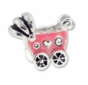 MIOVI� Silver Plated LH Pink Enamel Baby Buggy LH Bead (1PC)