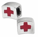 MIOVI� Silver Plated Large Hole Red Cross Bead (1PC)