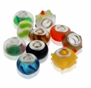 MIOVI™ Large Hole Lampwork Mixed Designs w/Silver Plated Grommet 14x9mm Beads (10PK)