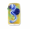 MIOVI™ Lampwork Large Hole Beads w/SP Grommets 18x13mm Yellow/Blue Seahorse Design (1PC)