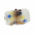 MIOVI™ Lampwork Large Hole Beads w/SP Grommets 18x13mm  White/Beige Fish Design (1PC)