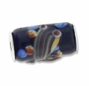 MIOVI™ Lampwork Large Hole Beads w/SP Grommets 18x13mm  Black /Amber Fish Design (1PC)