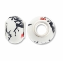 MIOVI™ Large Hole Porcelain Beads w/Silver Plated Grommet,14x9mm Asian Print White Porcelain Rondelle Beads (6PK)