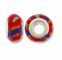 MIOVI™ Polymer Clay Beads w/Silver Plated Grommet,14x9mm Yellow Red Floral Design Rondelle Beads (6PK)