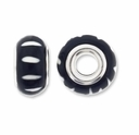 MIOVI™ Polymer Clay Beads w/Silver Plated Grommet,14x9mm Black White Stripe Design Rondelle Beads (6PK)