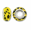 MIOVI™ Polymer Clay Beads w/Silver Plated Grommet,14x9mm Yellow Blk Design Rondelle Beads (6PK)