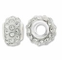 MIOVI™ Rhinestone Beads 15x9mm Large Hole Crystal Rhinestone WhiteResin Rondelles (1PC)