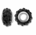 MIOVI™ Rhinestone Beads 15x9mm Large Hole Jet Rhinestone Black Resin Rondelles (1PC)