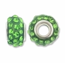 MIOVI™ Rhinestone Beads 15x9mm Large Hole Peridot Rhinestone Green Resin Rondelles (1PC)