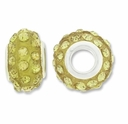 MIOVI™ Rhinestone Beads 15x9mm Large Hole Jonquil Rhinestone Olivine Resin Rondelles (1PC)