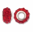 MIOVI™ Rhinestone Beads 15x9mm Large Hole Siam Rhinestone Red Resin Rondelles (1PC)