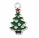 Silver Plated Small Enameled Christmas Tree Charm (1PC)