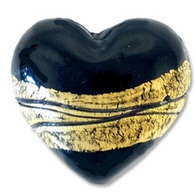 18mm Gold Foil Lampwork Heart Bead Black (1pc)