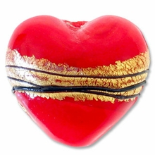 18mm Gold Foil Lampwork Heart Bead Red (1pc)