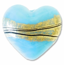 18mm Gold Foil Lampwork Heart Bead Sky Blue (1pc)