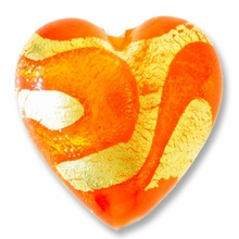 18mm Gold Foil Orange Heart (1pc)