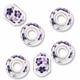 MIOVI™ Large Hole Porcelain Beads w/Silver Plated Grommet,14x9mm Purple Floral Print White Porcelain Rondelle Beads (6PK)