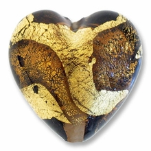 18mm Gold Foil Smoky Topaz Heart (1pc)
