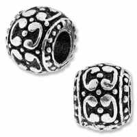 MIOVI™ Silver Plated Large Hole 10mm Fancy Drum Bead (1PC)