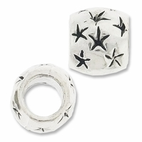 MIOVI™ Silver Plated Large Hole 9x8mm Drum Star Bead (1PC)