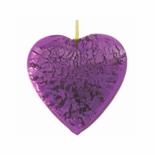 20mm Silver Foil Heart Pendant Amethyst w/ Gold Finding (1pc)