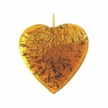 20mm Silver Foil Heart Pendant Topaz w/ Gold Finding (1pc)